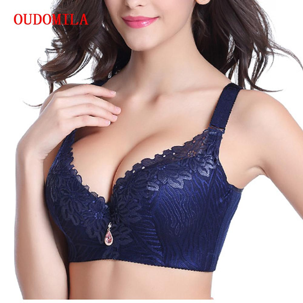 caf41de5bacb1 OUDOMILAI Hot Push Up Bra Big Size Chest Sexy Deep V Brassiere Lace Bralette  D E Large Cup Plus Size Bras For Women Intimates Bh Large Cup Plus Size Bra  ...