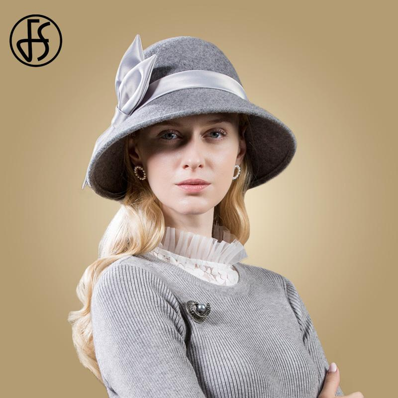 3fb0f00459e 2019 FS Black Hats Wool Women 2018 Autumn Winter Gray Wide Brim Round Hat  Felt Vintage Bow Top Cloche Fedoras Chapeu De Feltro From Oldnavy