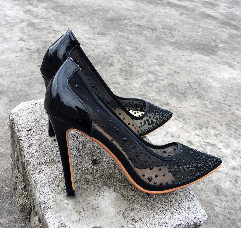 e1fb96044f5 Women Pumps Pointed Toe Red Bottom High Heels Sexy Black Summer Shoes For  Women See Through Slip On Pumps Party Mesh Shoes Cheap Shoes For Men  Italian Shoes ...