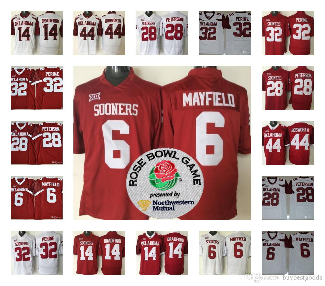 wholesale dealer 66878 6a903 Mens Oklahoma Sooners 6 Baker Mayfield 32 Samaje Perine 28 Adrian Peterson  44 Brian Bosworth College Football Jerseys Stitched