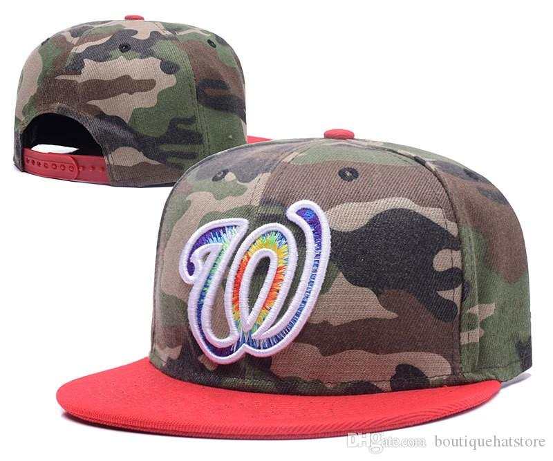 Wholesale Top Quality Nationals Snapback Hats Embroidered W Letter Team Logo Camo Color Cheap Sports Baseball Adjustable Caps Bones