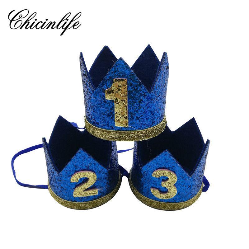 Chicinlife Baby Boy 1st First Birthday Glitter Headband Crown Hairband Shower Hat Photo Prop Decoration Party Supplies Hats Girls