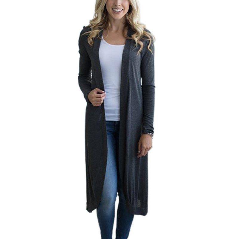 Nouvelles Arrivées plusieurs couleurs beaucoup à la mode Long Cardigan Women 2018 New Fall Open Stitch Sweater Overcoat Casual  Streetwear Cardigans Jackets Jumper Pull Femme
