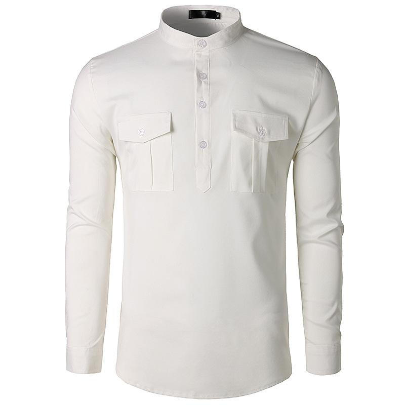 Compre Branco Henley Camisa Homens 2018 Outono New Slim Fit Manga Longa  Mens Camisas De Vestido Casual Botão De Bolso Duplo Para Baixo Camisa De  Vestido ... 76f59d43805f2