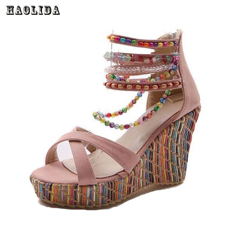 61902f412b Brand New Women's Shoes Bohemian High Heel Wedge Sandals Fashion Color  Beaded Chain Thick Crust Muffin Sandals Shoes Pumps