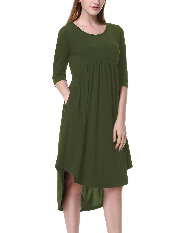 44d7b59b2e92 Mixfeer Casual High Low Hem Dress Women Scoop Neck Pockets Asymmetrical  Dress Pleated Loose Swing Dress 2019 Spring Summer Ropa Chiffon Dress  Online Dresses ...