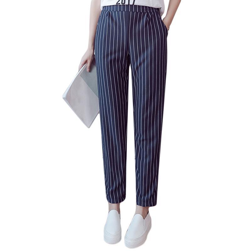 3a9b1546f0b 2018 Summer Autumn Female Fashion Elastic Waist Casual Stripes Pencil Pants  Women Pants Work Wear Trousers Harem Pants Pocket From Liasheng06