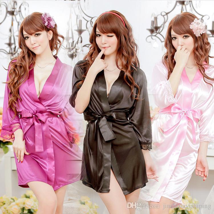 25e8053203 Bathrobe Women Bridesmaid Robes Soft Sexy Short Kimono Robe Home ...
