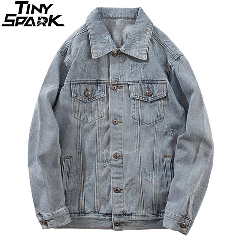 f03a8047f Vintage Washed Denim Jacket 2019 Spring Hip Hop Distressed Retro Jeans  Jacket Men Streetwear Denim Bomber Jackets Ripped Holes Mens Jacket Sale  Leather ...