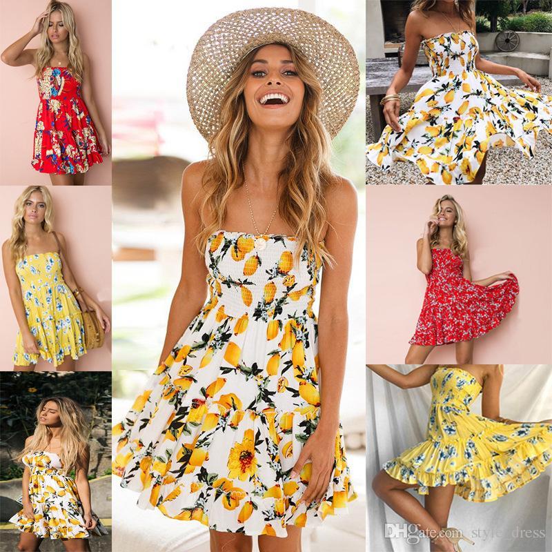 65f4e99585 Women Summer Beach Dress Casual Bohemian Strapless Floral Lemon Printed  Ruffles Mini Dress Short Prom Dresses Semi Formal Dresses From Style dress