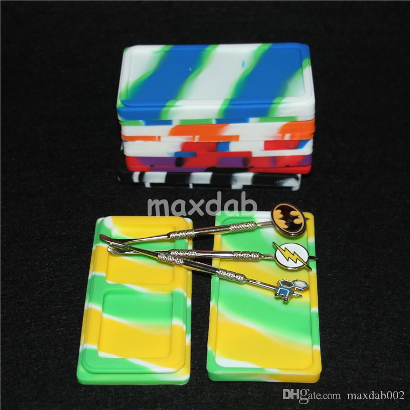 Waxmate Containers Silicone Rubber Containers Silicon Storage Square Wax Jars Dabber Oil Holder Waxmate Rubber Wax Containers with dabber