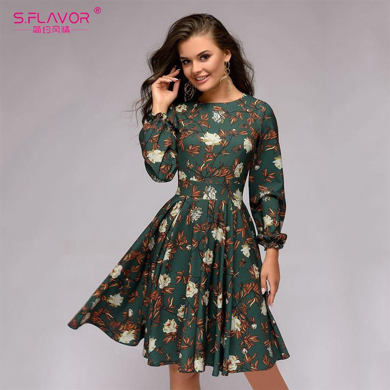 4198997d4a3b2 2019 S.FLAVOR Casual Women Printing A Line Knee Length Dress 2018 Autumn  Winter Petal Long Sleeve Slim Vestidos Female Vintage Dress From Longan08