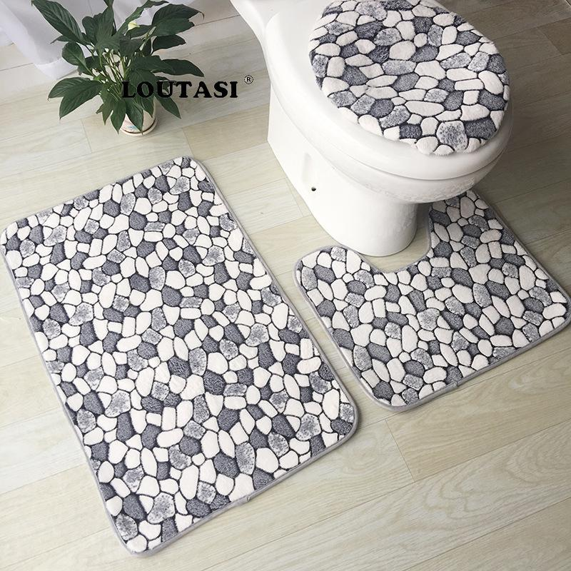 Loutasi Bath Mat Bathroom Carpet Mat Coral Velvet Toilet Rugs Non