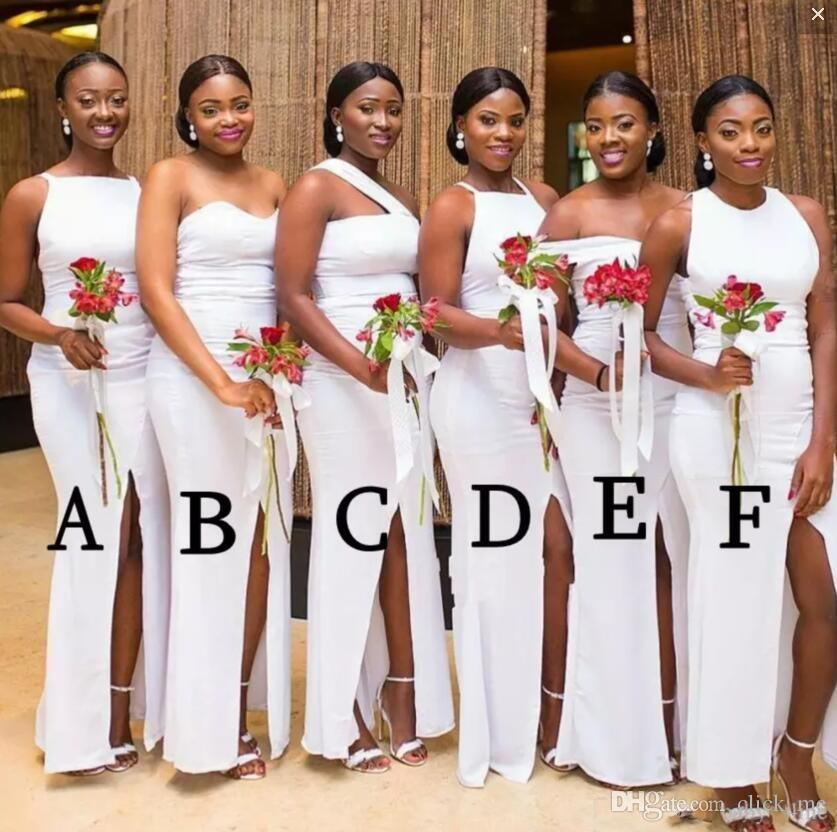 African Different Styles Mermaid Bridesmaid Dresses Front Split Satin Wedding Guest Dress Floor Length Sexy Maid Of Honor Dress
