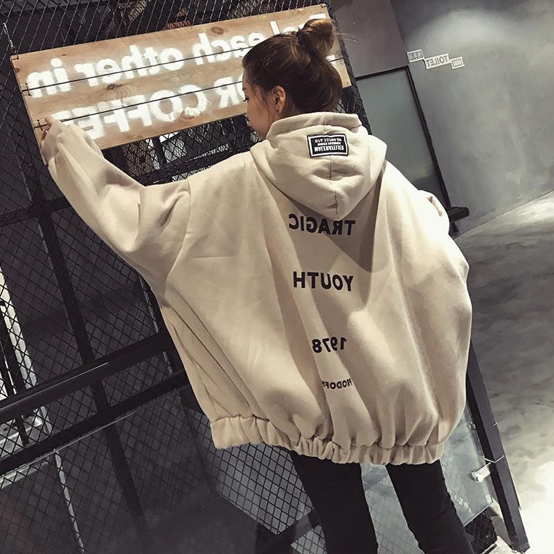 01b7e211ebc319 Großhandel Frauen Harajuku Übergroßen Buchstaben Print Hoodies Lose Extra  Lange Ärmel Bts Kpop Kleidung Niedlichen Kawaii Sweatshirt Und Pullover Von  ...
