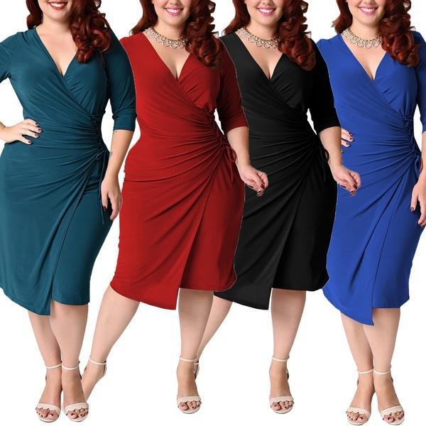 2019 Women S Fashion Plus Size Deep V Neck Dress Bodycon Wrap Dress With  Front SlitL 5XL From Tubxxxx 5d0b0d90b