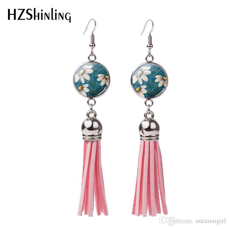 1c652a123 2019 2018 New White Daisy Tassel Earring Beautiful Daisies Fish Hook  Earrings Handmade Jewelry Glass Photo Bohemian Style Earbob NHE 0107 From  Autumngirl, ...