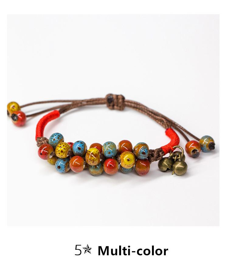 Hot selling Handmade Ceramic bracelet jewelry Girl bracelets bangles natural gem charm with red rope bracelets beads Best Git