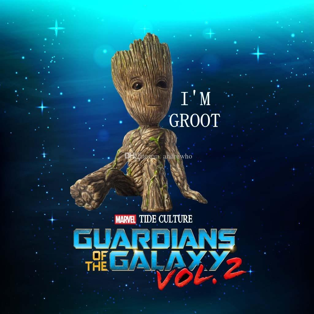 Bebek Oyuncakları 6 cm Oturan Ağaç Adam Groot Action Figure Karikatür Film Groot Araba Masaüstü Dekorasyon Hediyeler için Oyuncaklar Rakamlar