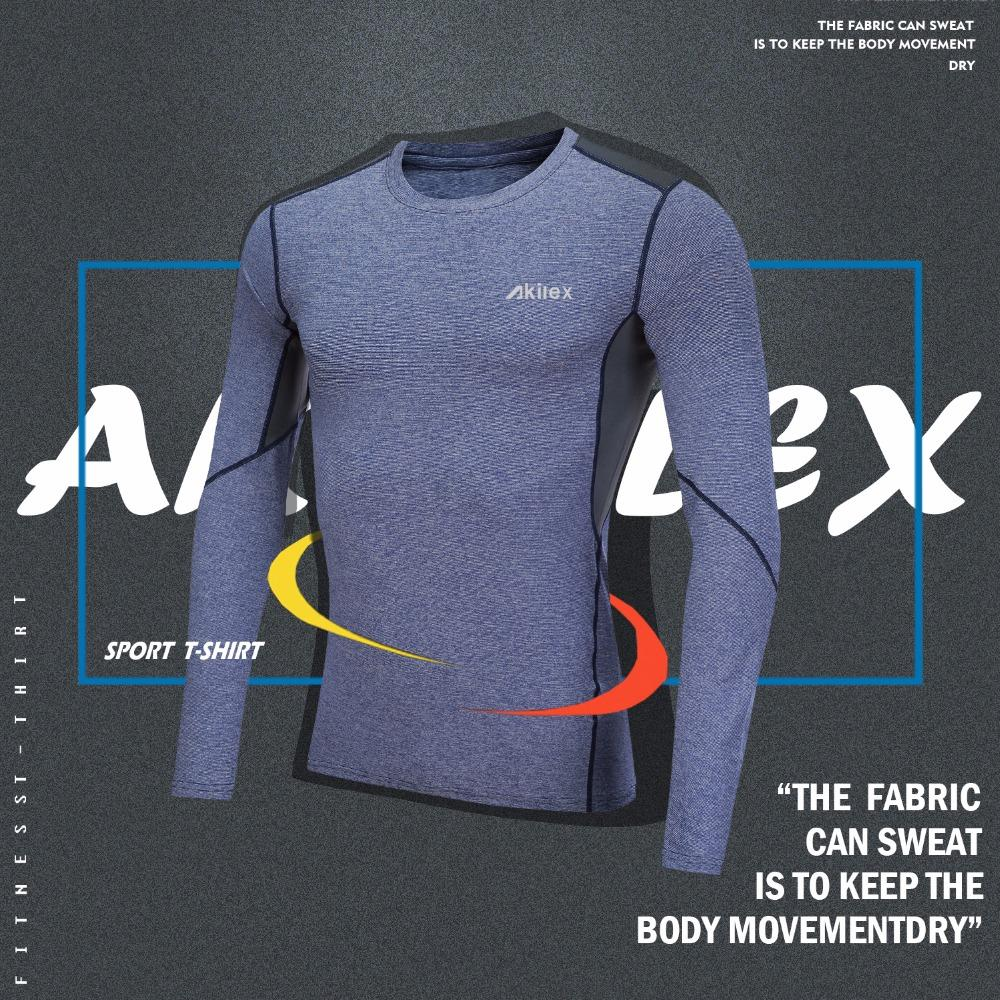 b2dd312fa Akilex Men's Quick Dry Long Sleeve fitness Basketball Running Sports T  Shirt Men Workout Gym Tees 2018 New Design Shirt