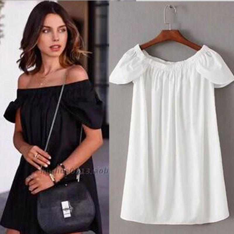 9a35c650812f Women One Piece Dress Sexy Off Shoulder Rompers Loose Clothes Summer Shirt  With Short Sleeve Woman Sexy Shirts Clothes Modest Prom Dresses Dresses On  Sale ...