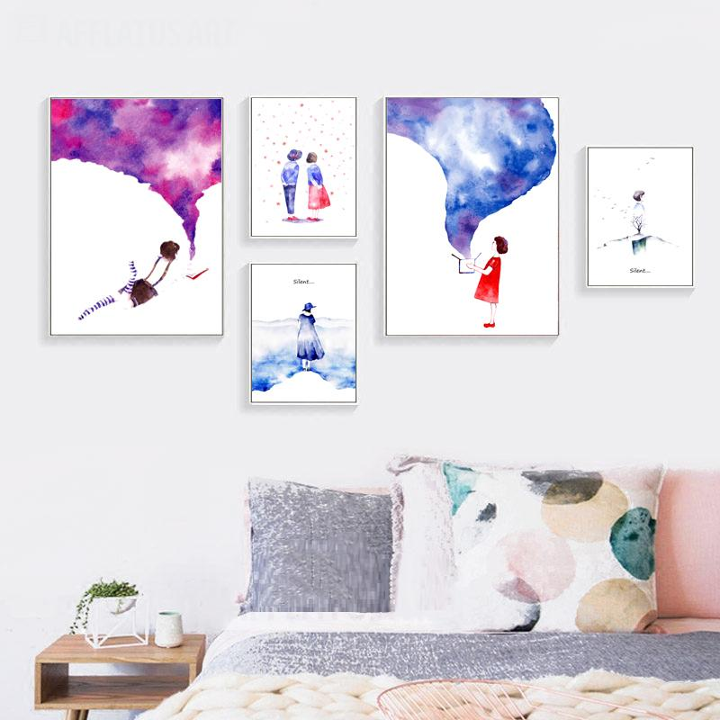 2018 Watercolor Canvas Posters Modern Romantic Love Girl And Boy Nordic  Style Art Painting Printing Wall Picture Room Home Decoration From Shutie,  ...