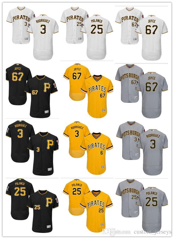 the latest 72622 763b4 Men women youth Pittsburgh custom Pirates Jersey #3 Sean Rodriguez 25  Gregory Polanco 67 Matt Joyce Black Yellow Grey Baseball Jerseys