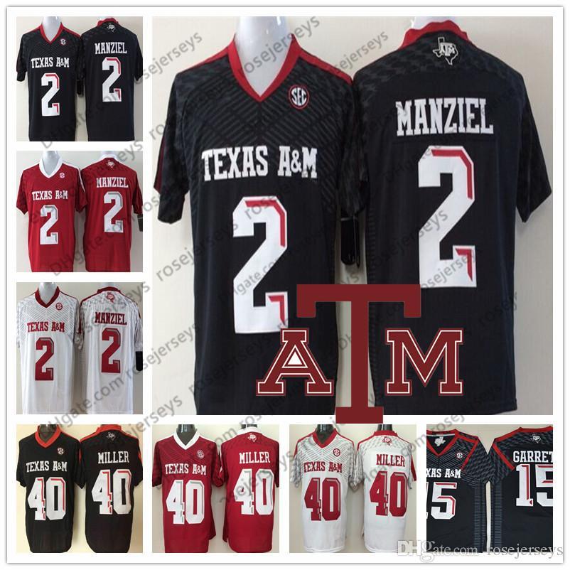 a389b470d Acheter NCAA Texas AM Aggies   2 Johnny Manziel 40 Von Miller Hommes  Jeunesse Femmes Enfants Noir Rouge Blanc Cousu 2018 College Football  Maillots S 3XL De ...