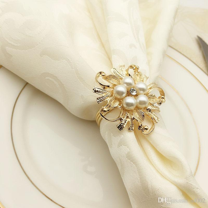 Hotel Model Houses Meal Buckle Luxury Shining Napkin Ring Scarf Holder Pure Color White Kitchen Accessories 2 9hw gg
