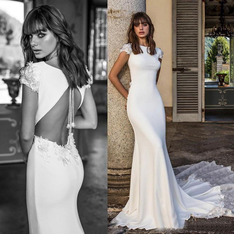 vestido de novia 2018 berta wedding dresses backless lace long train