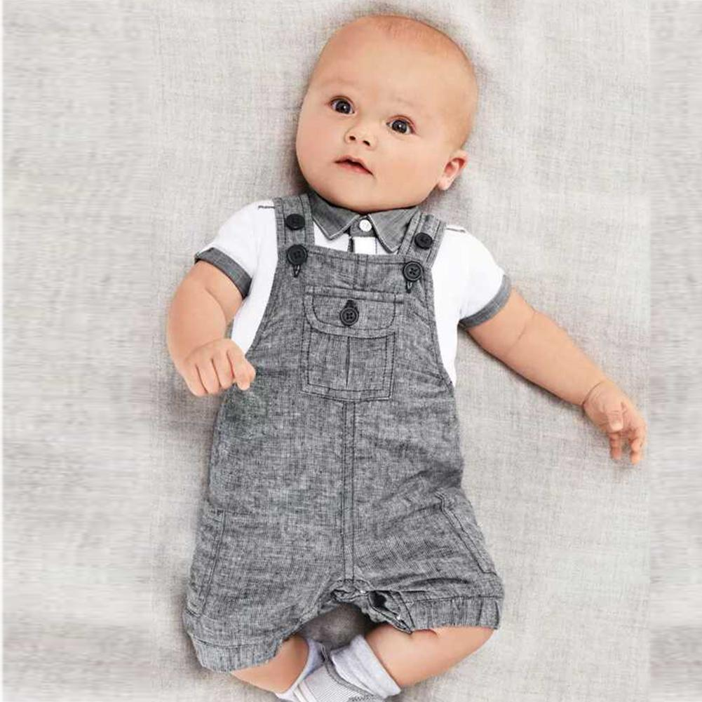 907502589be6f 2019 Baby Boys Kids Formal Suits Summer Boy Gentleman Clothes Set Short  Sleeve Shirt+Gray Overalls Trousers Outfit For Children From Sport xgj