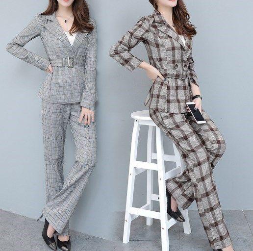 808359a39d27f 2018 Korean Fashion Womens Plaid Business Suits For Women 2pcs Pantsuit  Women Office Work Suits Brown Grey 2 Piece Trousers Sets Clothing