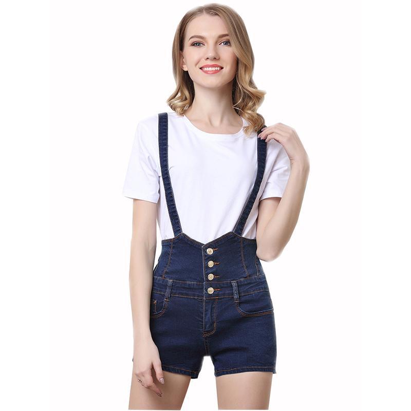 31ef86fb145 Women overall jeans denim shorts spring summer black strap pockets causal  button high waist jumpsuit jeans