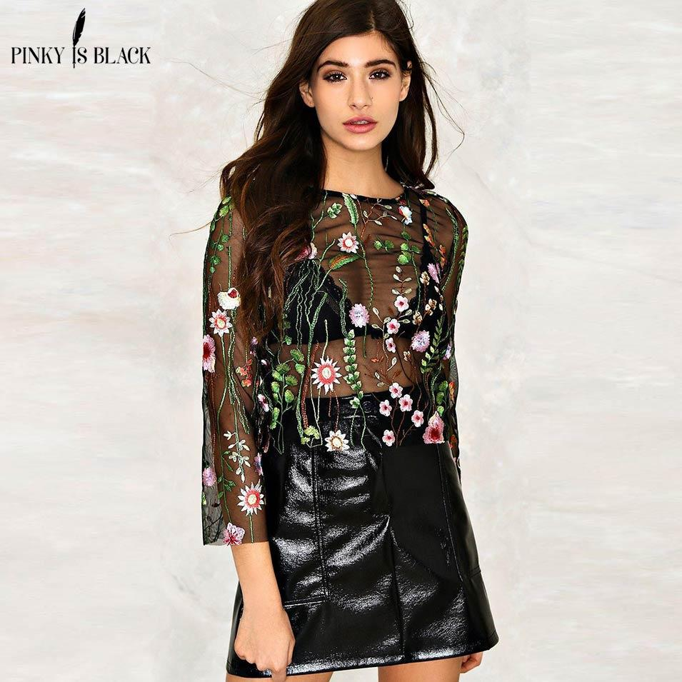 Pinky Is Black Sexy Flowers Embroidered Mesh Shirts See Through Transparent  3 4 Sleeve Blouse Women Ladies Casual Tops Blusas UK 2019 From Amandal b0edd0680899