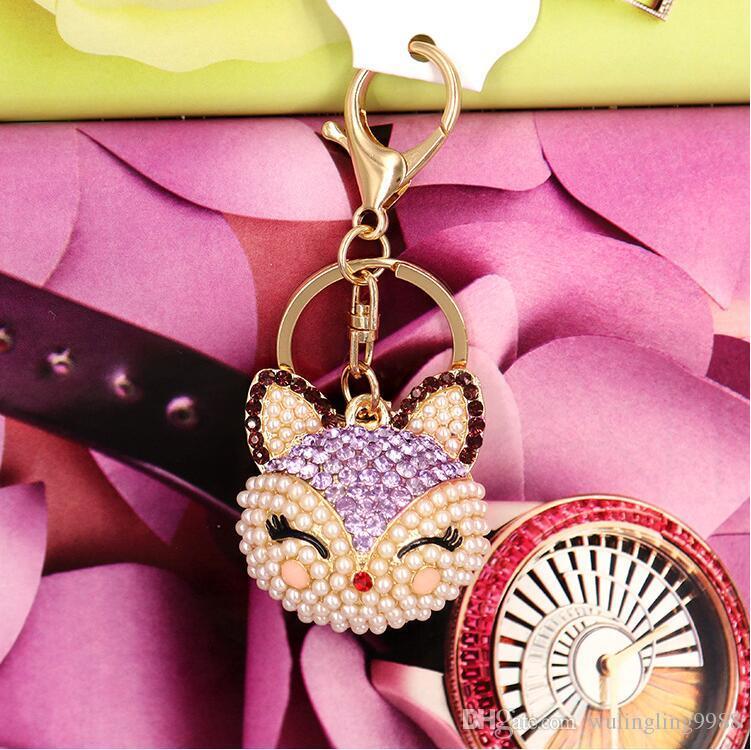 Artificial fox Keychain for Handbag Car Key Ring Cute Crystal Fox Key Chain Pearl Pendant Key Chains Fox Keyring Crystal Keychains