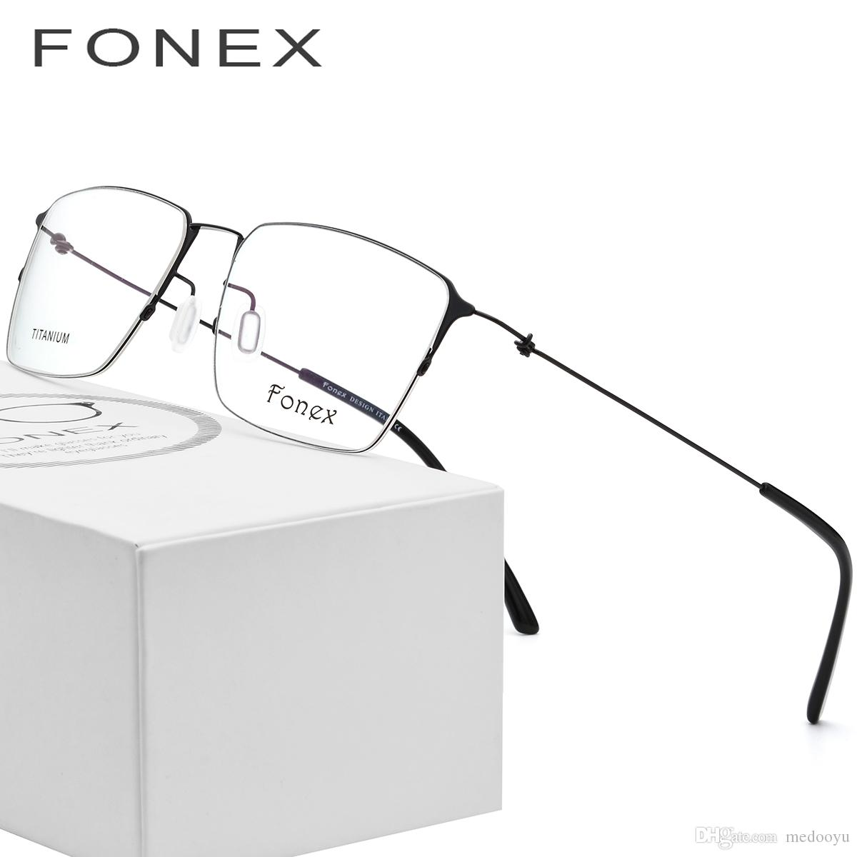 7e52d032126 2019 FONEX Screwless Eyewear Korean Glasses Frame Men Rimless Titanium  Alloy Prescription Eyeglasses Myopia Optical Frames 9861 From Medooyu