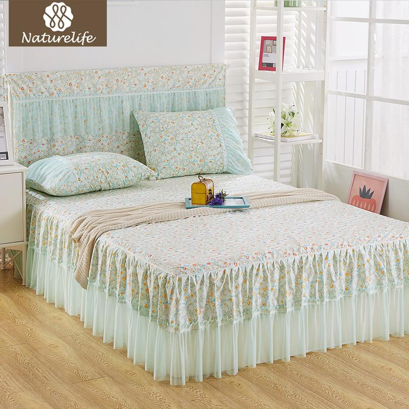 Naturelife 2017 New Bed Skirt Pattern Bed Cover Sheets Cotton Quilted Lace  Bedspread Pastoral Flower Lace Bed Sheet Extra Long Bedskirt Queen Dust  Ruffles ...