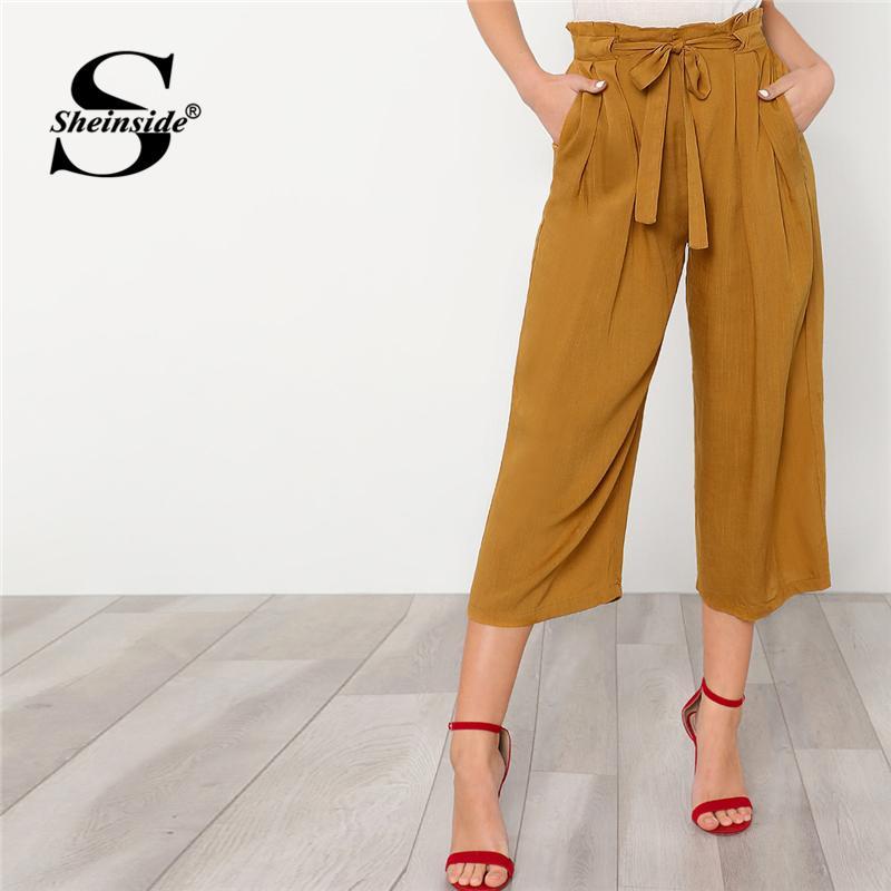 Compre Sheinside Self Tie Ginger Pantalones Anchos De La Pierna De Las  Mujeres Llanura Ceñida De Cintura Alta Pantalones Flojos 2018 Pantalones De  Trabajo ... 42c467dd1378