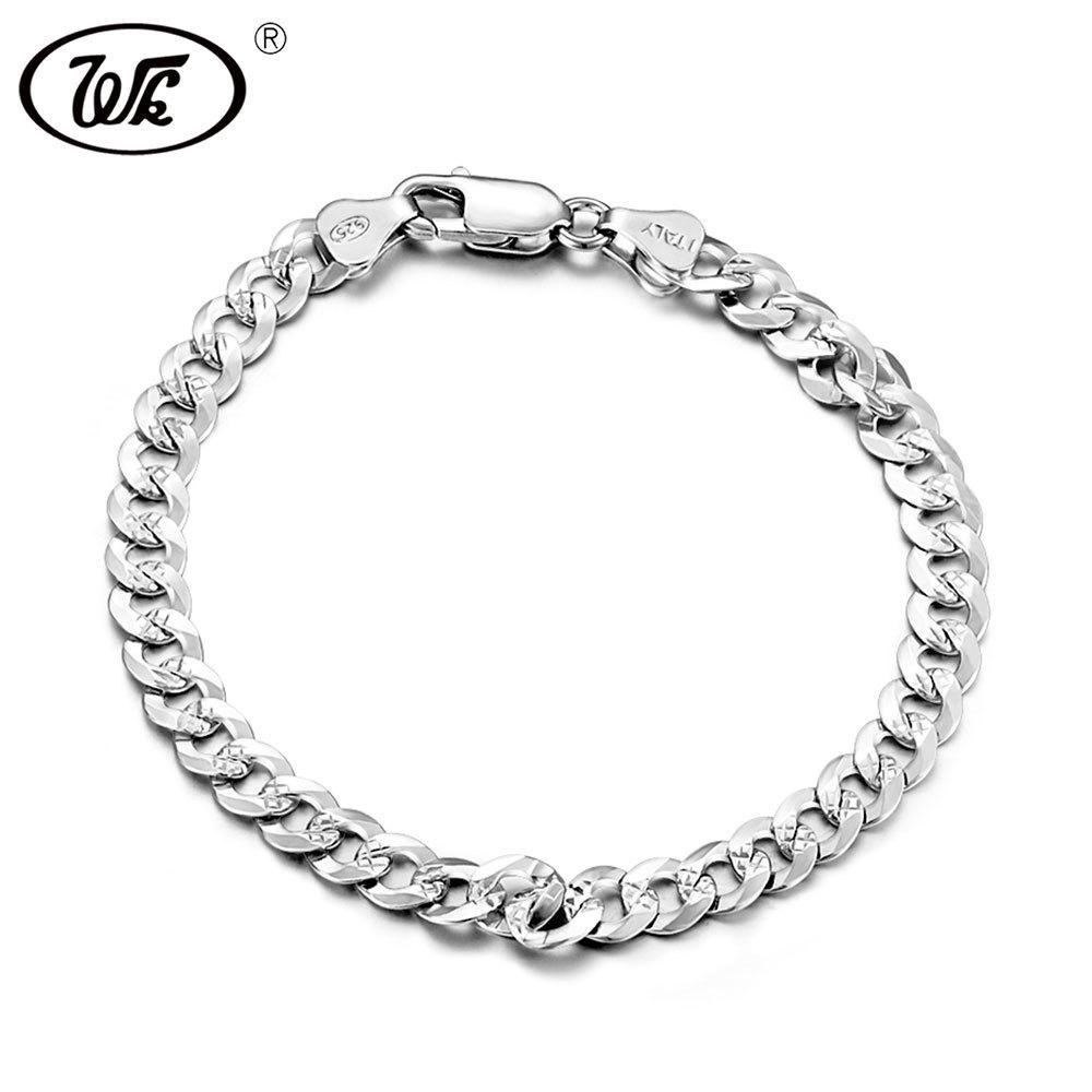 Wk Genuine 925 Sterling Silver Bracelet Men Male Boys Hiphop Curb