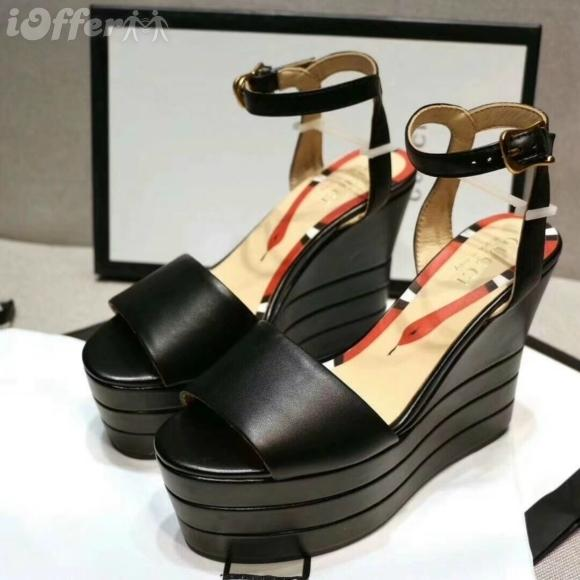 de4b951397fa BLACK 7.5CM WOMEN WEDGE HEEL STRAPPY SANDAL PUMP SHOES Men Women FASHION  SHOWS Sandals Slippers Mules Wedges Slides Red Shoes Moon Boots From  Inshoip669