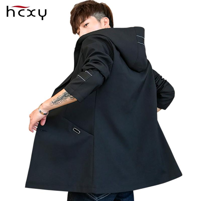 ad8fb4d68f19 2019 HCXY Autumn Men Trench Coat Mens Hooded Long Jacket Coat Solid Color  Casual Male Windbreaker Youth Clothing From Duanhu