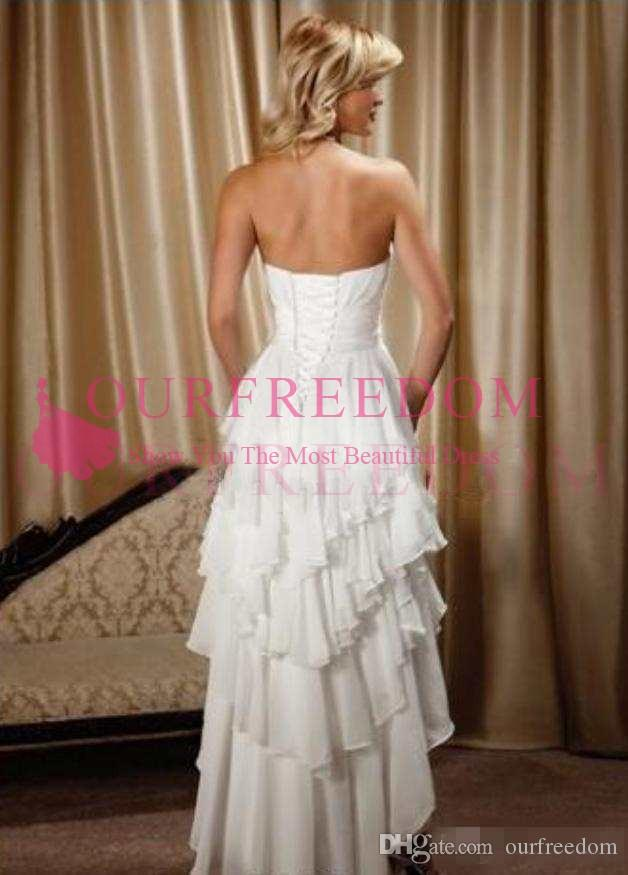 2019 Short Front Long Back Wedding Dresses Simple Design Sweetheart Chiffon High Low Country Western cowgirl Hi-Lo beach Bridal Gowns Dress