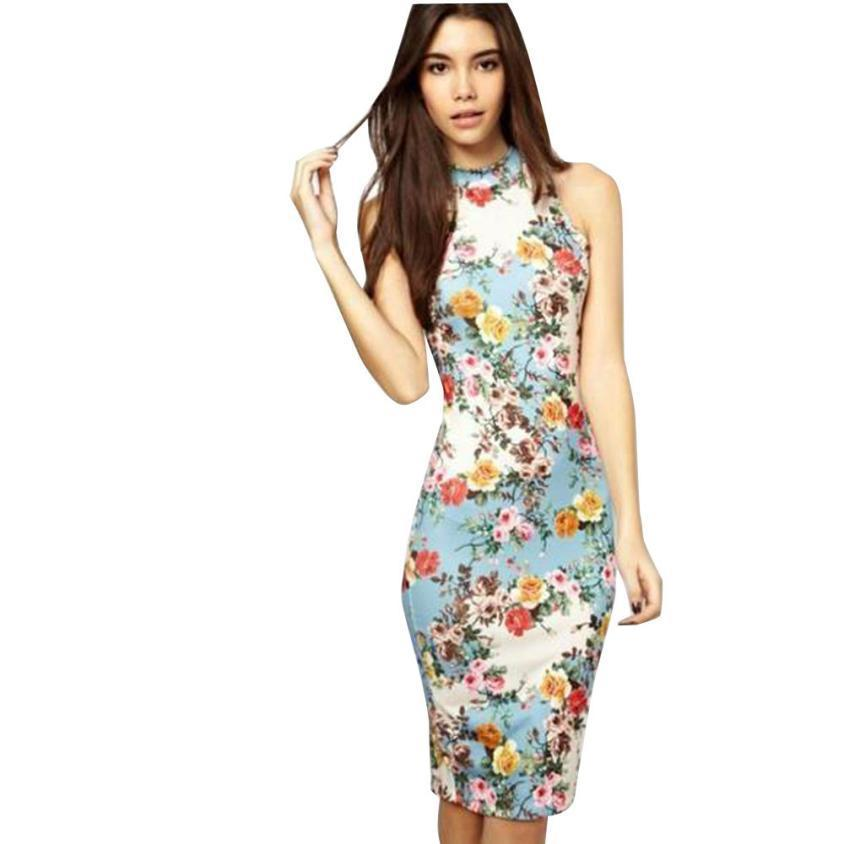 9e1d6c965d2 Elegant Women Dress Casual Summer Dress Flower Print Party Dresses ...