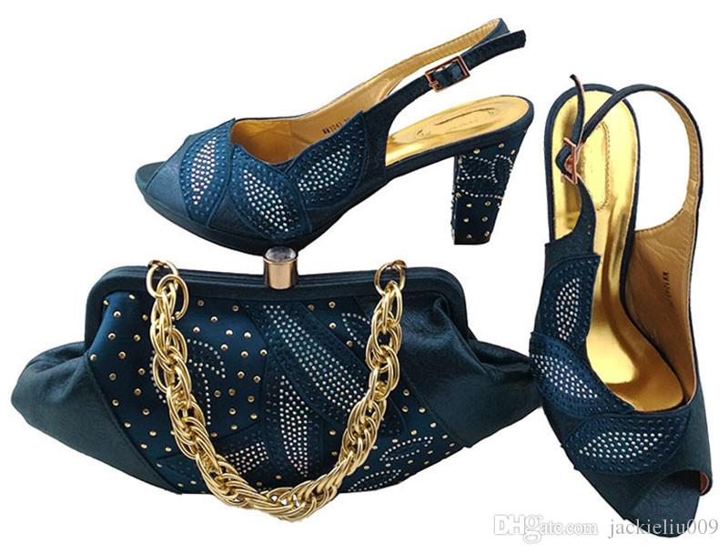 Elegant D.blue Shoes Match Bags with Rhinestones Series African Lady ... d638b985e8d8