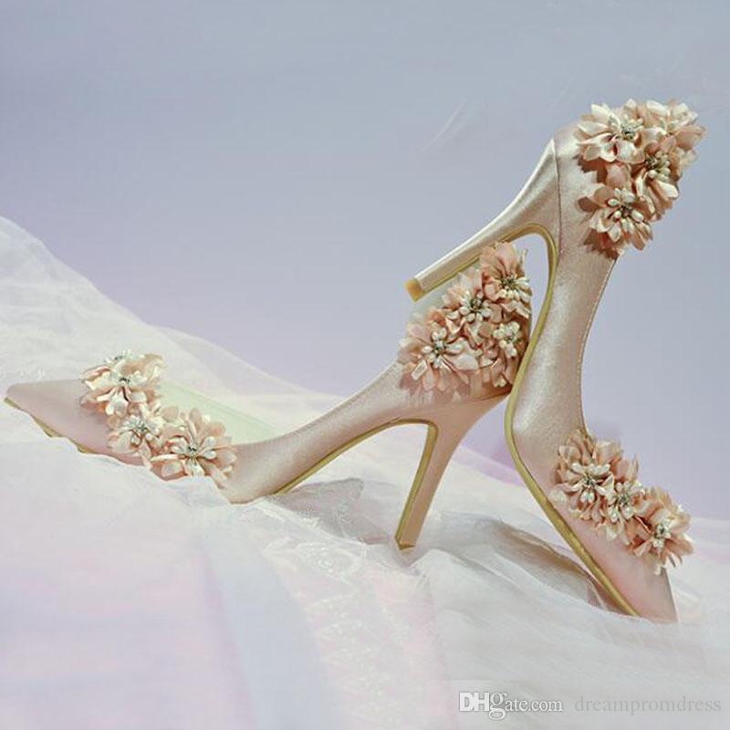 Sweet Bridal Crystal Shoes Floral Champagne High Heel Wedding Shoes ... c86deb4afa31