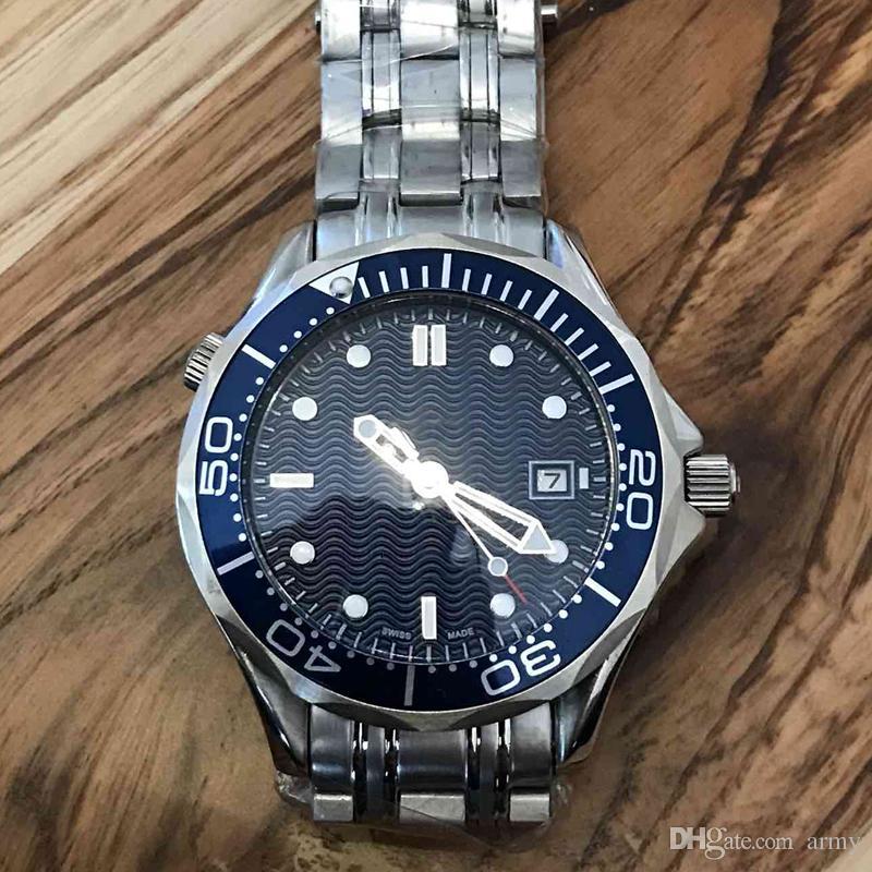 2019 Yeni Lüks Erkek Profesyonel 300 m James Bond 007 Mavi Dial Safir Otomatik İzle erkekler Saatler