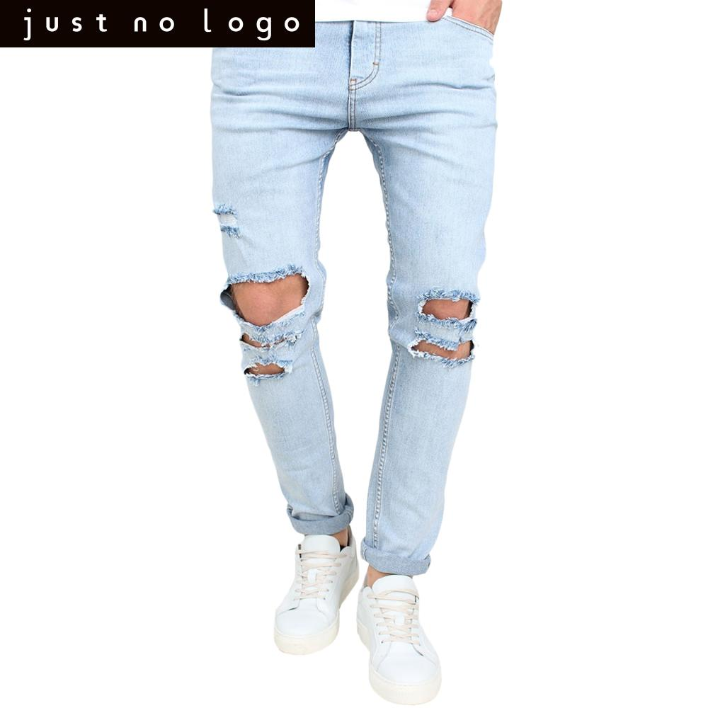 ea45fb93bbb Men's Destroyed Frayed Jeans Ripped Distressed Skinny Slim Fit Denim Jeans  Tapered Pencil Pants Light Bleached Blue Trousers