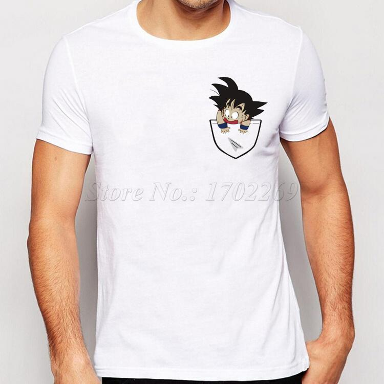 2017 New Fashion Son Goku In My Pocket Design Men T Shirt Creative