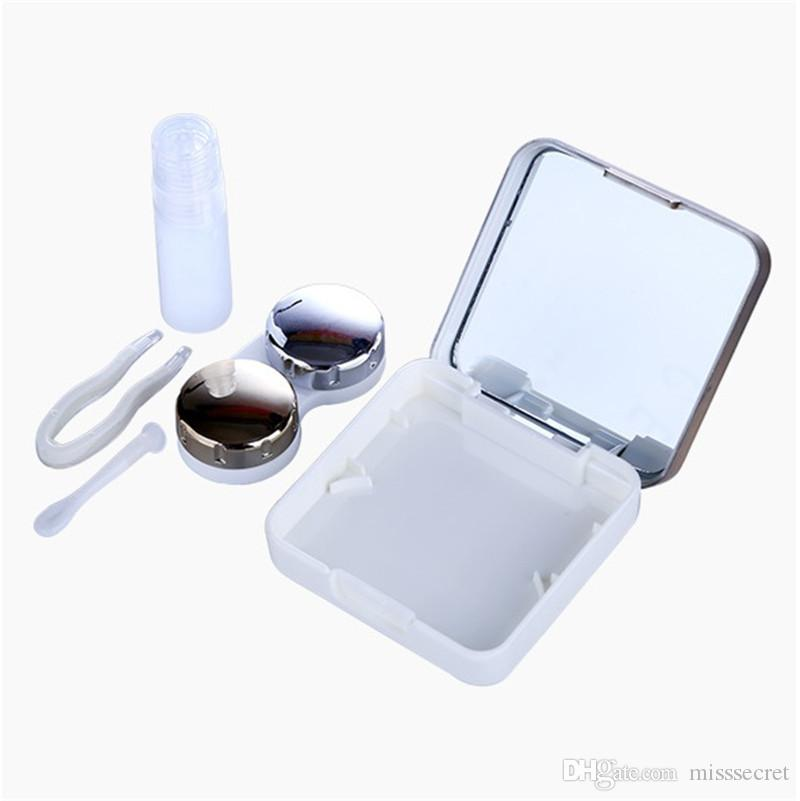 جودة عالية عاكس العدسات اللاصقة حالة الغطاء مع لون مرآة العدسات اللاصقة مربع النظارات حالة طقم سفر