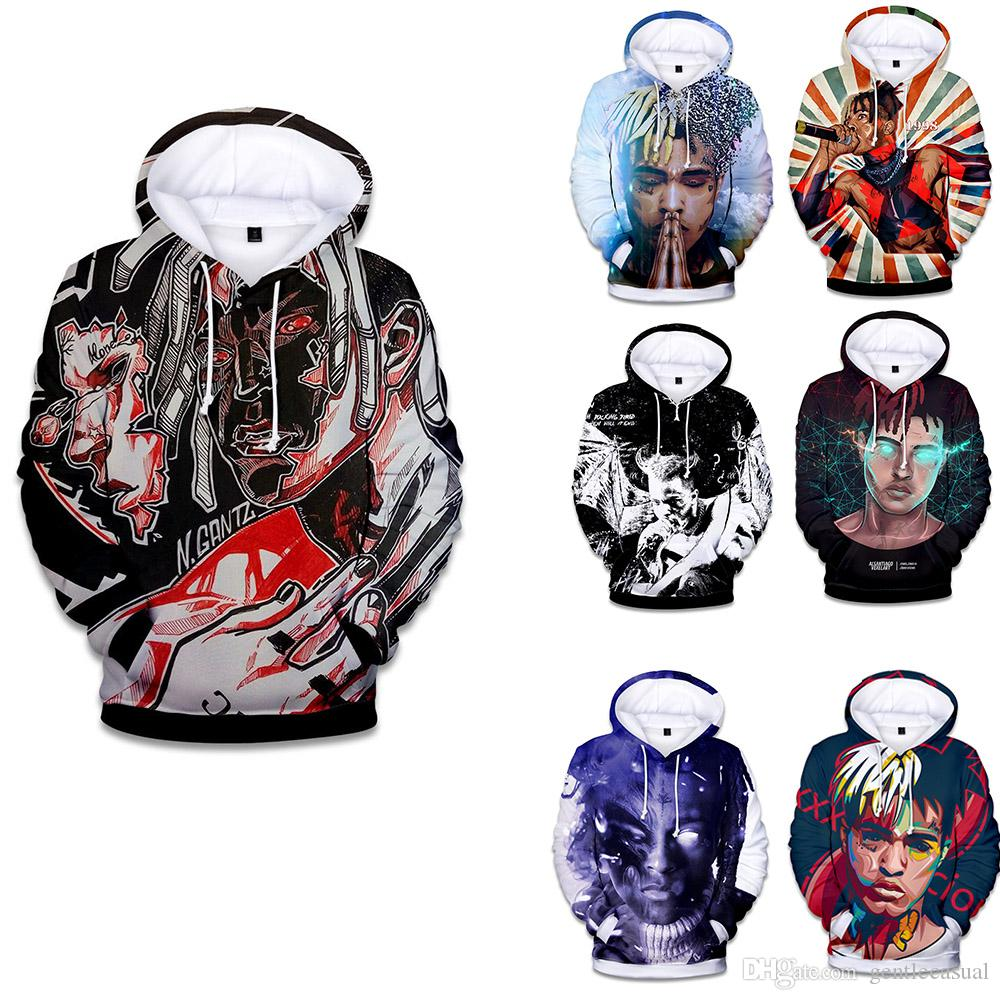 dd2aa040201a 2019 Designer Pullover Hoodies XXXTentacion 3D Hoodies Men Women Casual  Pullover Streetwear Hoodies Sweatshirt Male Hooded Crewneck With Hat From  ...